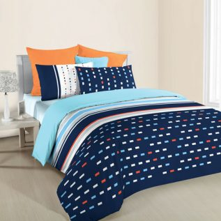 ANN TAYLOR GEOMETRIC HOME- Fitted Sheet Plus Comforter Set  (4 PC SET SINGLE)