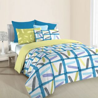 ANN TAYLOR GEOMETRIC HOME- Fitted Sheet Plus Comforter Set  (6 PC SET QUEEN)